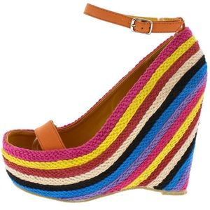 Shoes - New! Orange Rainbow Open Toe Ankle Strap Wedge 10